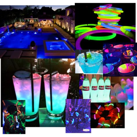 Glow in the dark pool party by qveenpaige on Polyvore featuring art