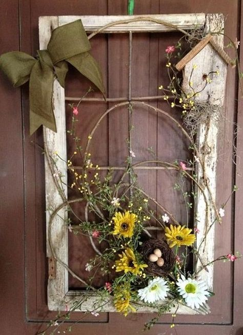 15 Creative and Unique Spring Wreath Ideas - Wildflowers and.- 15 Creative and Unique Spring Wreath Ideas – Wildflowers and Wanderlust Using an old window and florals is a great way to decorate your front door for spring Old Window Decor, Window Art, Window Frame Ideas, Old Window Frames, Frames Ideas, Rustic Window Frame, Window Panes, Repurposed Window Ideas, Window Frame Crafts