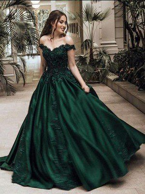 fancy dresses Elegant Ball Gown Off-The-Shoulder Lace Satin Prom Dress Dark Green Prom Dresses, Grad Dresses Long, Pretty Prom Dresses, Unique Prom Dresses, Prom Dress Long, Green Wedding Dresses, Emerald Green Dresses, Wedding Outfits, Homecoming Dresses