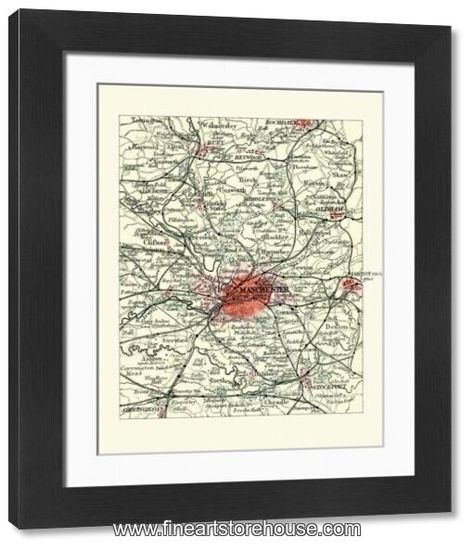 Print of Antique map, Manchester, England, 19th Century