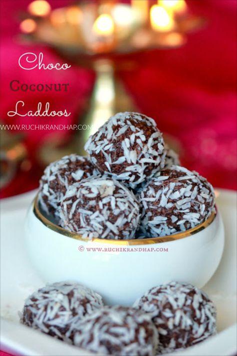 Choco Coconut Laddoos Deepavali Special Ruchik Randhap Best Christmas Recipes Milk Chocolate Recipes Cacao Recipes