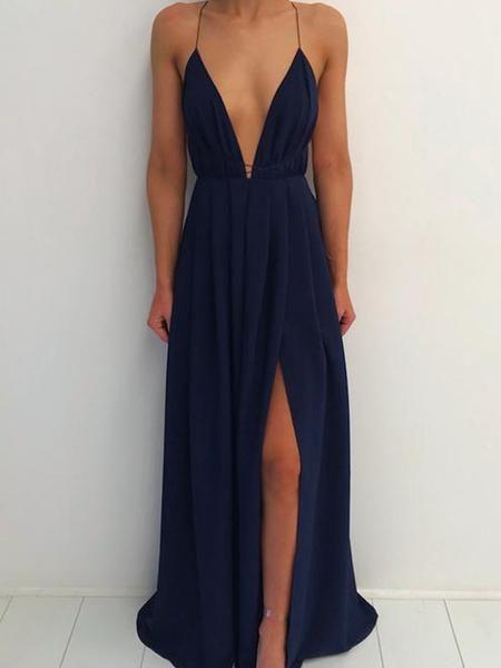 d81fd568241 Simple Navy Blue Spaghetti Strap Deep V-Neck Backless Side Slit Long Evening  Prom Dresses