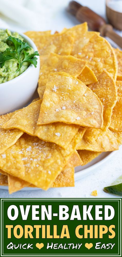 Crispy and crunchy Homemade Baked Tortilla Chips are made from corn tortillas, a bit of oil, and a squeeze of lime juice. This easy, gluten-free, and vegan chip recipe is made healthy by baking them in the oven instead of deep frying! Healthy Tortilla Chips, Baked Corn Tortilla Chips, Baked Corn Tortillas, Vegan Chips, Homemade Corn Tortillas, Healthy Chips, Homemade Chips, Homemade Tacos, Oven Baked Chips