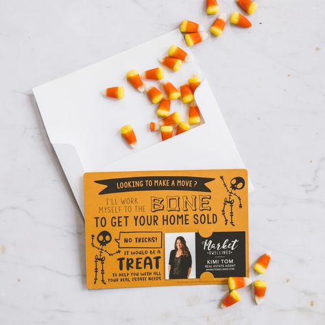 Set of Halloween I'll Work Myself to the Bone to Get Your Home Sold Mailer   Envelopes Included   M21-M003 - ARCTIC
