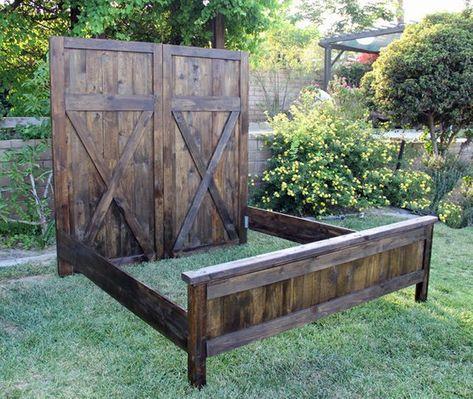 Rustic Barn Bed headboard-vintage-barn-door-replica