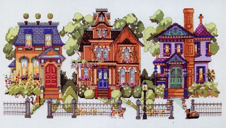 Golden Gate Avenue Cross Stitch Pattern With Images Victorian Cross Stitch Cross Stitch House Cross Stitch Landscape