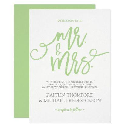 Rustic Brush Calligraphy Invitation Pale Green Wedding