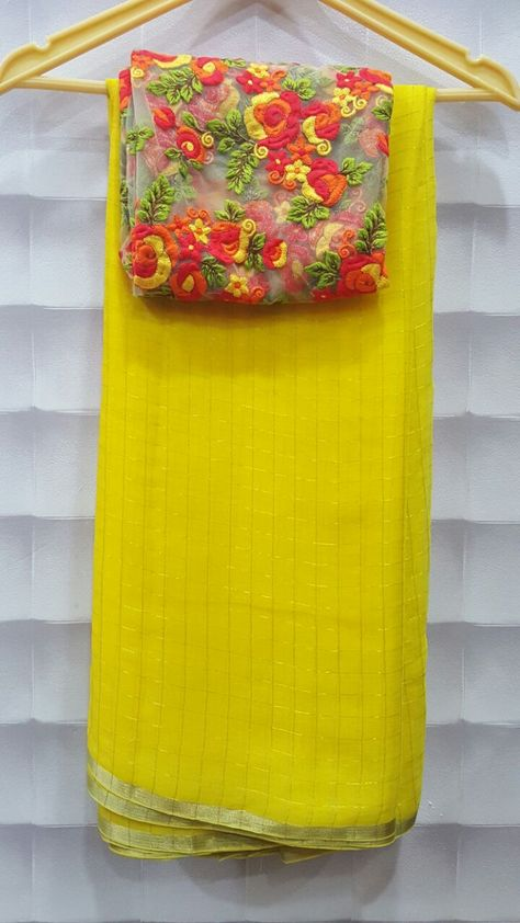 Pure Georgette zari checks saree with designer blouses