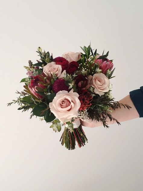 Ok!!!! Hunter Valley wedding featuring native wedding bouquet of Proteas, Rose and sesonal blooms and foliage made by Willa Floral Design. #wedding bouquets Burgundy and blush native wedding bouquet