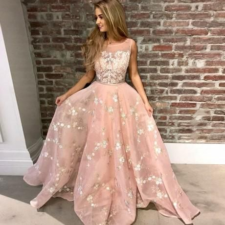 74c7fdf7d3e A-Line Round Neck Pink Tulle Prom Dress with Appliques Lace