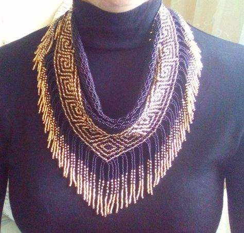 Jewelry necklace from beads Scarf of beads Native American style Black and gold scarf shawl made of beads Black Necklace Handmade Jewelry