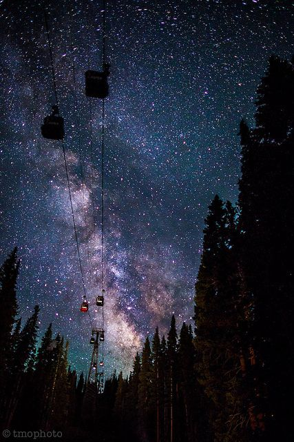Aspen, Colorado gondola against the Milky Way
