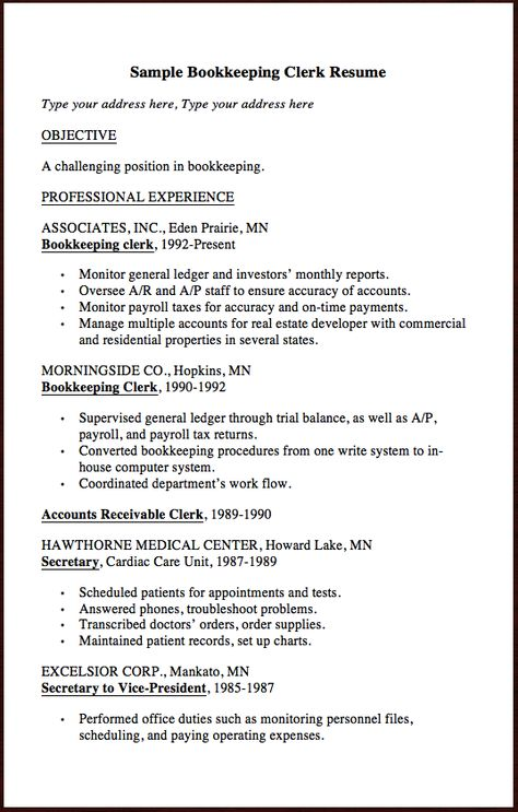 Here is Another Clerk Resume Example, u201c Sample Bookkeeping Clerk - production clerk sample resume
