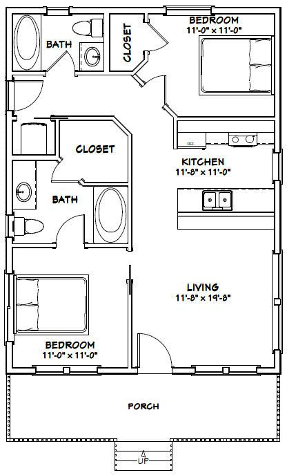 24x32 House 24x32h3a 768 Sq Ft Excellent Floor Plans Tiny House Plans Tiny House Floor Plans Small House Plans