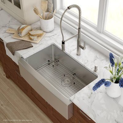 Kraus Handmade 32 L X 30 W Farmhouse Kitchen Sink With Faucet Finish Stainless Steel With Images Stainless Steel Farmhouse Sink Farmhouse Sink Kitchen