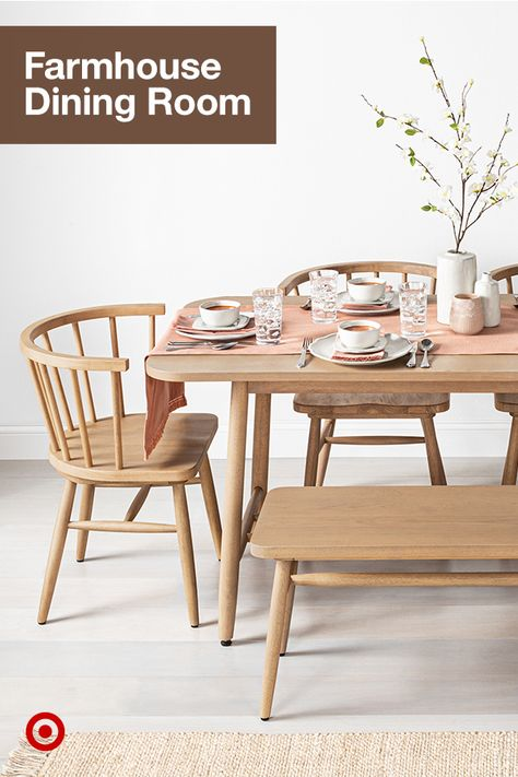 Switch up your dining room with a farmhouse-style table, chairs  decor to create a warm  inviting space.