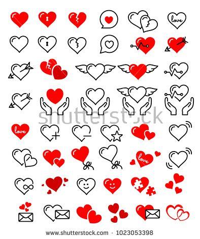 Heart Vector Set Icon Hearts Love Line Art Design Shape