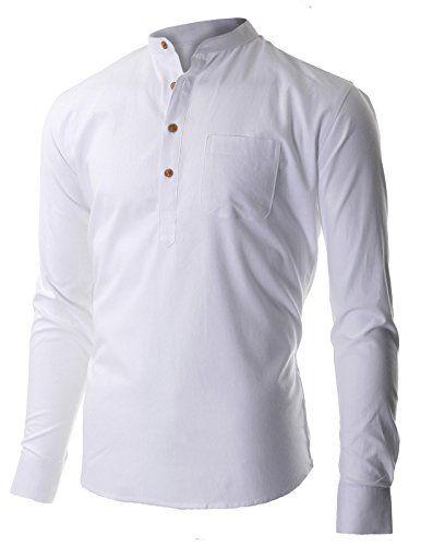 FLATSEVEN Men's Casual Mandarin Collar Popover Long Sleeve Henley ...