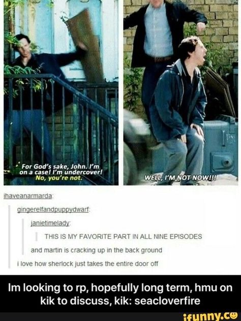 John Watson - Martin Freeman and Sherlock Holmes - Benedict Cumberbatch Sherlock John, Sherlock Fandom, Jim Moriarty, Watson Sherlock, Sherlock Quotes, Sherlock Holmes Funny, Mycroft Holmes, Sherlock Humor, Sherlock Comic