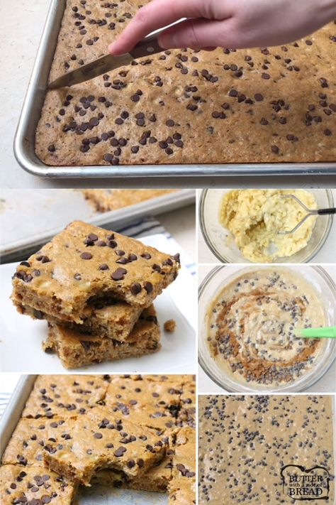 Chocolate Chip Banana Bars are a simple & delicious ripe banana recipe that's even better than banana bread! Great for breakfast, lunch and even dessert! Check out all the 5 star reviews- everyone raves about this easy banana recipe! #banana #recipe #chocolatechip #bananas #baking #snack from BUTTER WITH A SIDE OF BREAD