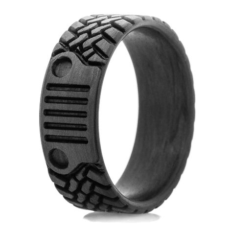 Check-out the Titanium-Buzz collection of tire tread wedding rings including dirt bike rings, motorcycle rings, and Goodyear wedding rings with styles for every racer. Bike Wedding, Wedding Men, Wedding Bands, Jeep Stickers, Wax Ring, Tire Tread, Dream Engagement Rings, Everyday Rings, Jeep Accessories