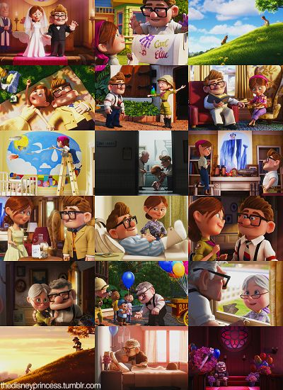 Carl & Ellie <3 Man, just looking at the last three pictures makes me cry! :( What a love story tho! :')
