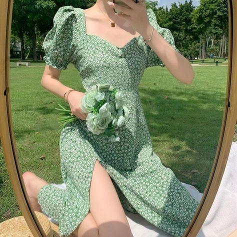 Women A-line Vintage Short Puff Sleeve Summer Dot Print Split Long Chiffon Dress - 14-green 200971939 / S(40KG-50KG) 100014064
