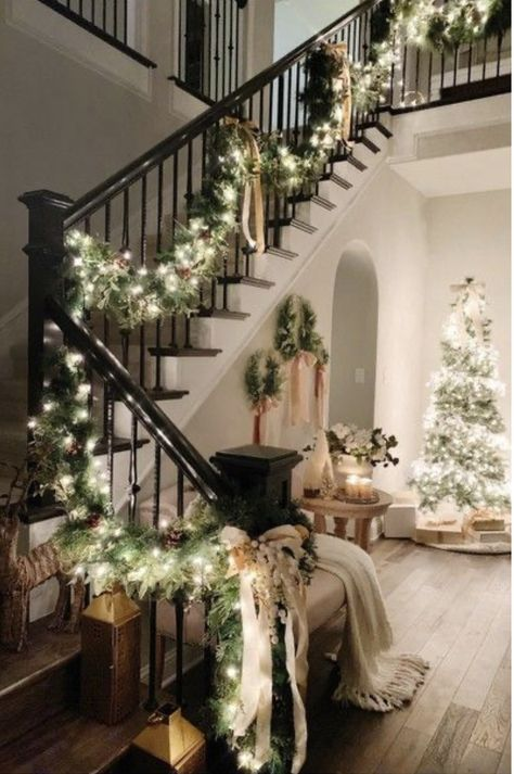 Learn how to decorate for Christmas with Indoor Christmas decorations and christmas ideas - festive ideas - diy - living room christmas decor - wreaths on stools and garlands on stairs decor Christmas Decor We Are Drooling Over in 2019