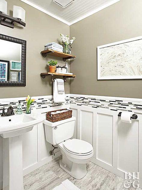 Home Interior Bathroom Renovation Rescue: Small Bathroom on a Budget.Home Interior Bathroom Renovation Rescue: Small Bathroom on a Budget Bathroom Renos, Bathroom Interior, Bathroom Shelves, White Bathroom, Bathroom Storage, Bathroom Organization, Organization Ideas, Small Bathroom Redo, Bathroom Wainscotting