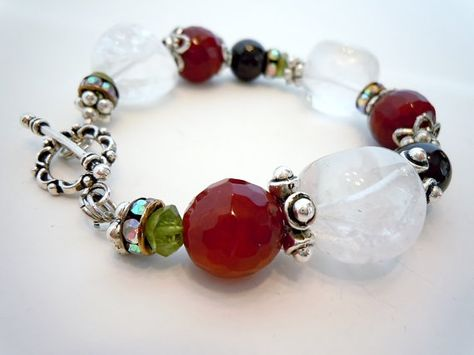 Red Coral and Fire Polished Red Artisan Made Coil Bracelet