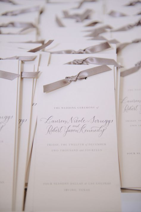 @laurenscruggs + Jason Kennedy Winter Wedding Programs | @toddevents | Photography: @thekatharris @lindseyshea #TheKennedyWedding