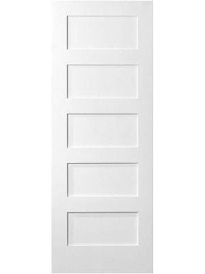 Interior Primed Flat 5 Panel Shaker Door 6 8 1 3 8 Thick Made Bydyke Ind Sku 0121 21 42116 1 Wood Doors Interior Interior Wood Paneling Shaker Doors