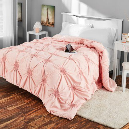 Mainstays Microfiber Full Or Queen Circle Ruched Solid Comforter 1 Each Walmart Com Decorative Pillow Sets Comforters Pink Bedding