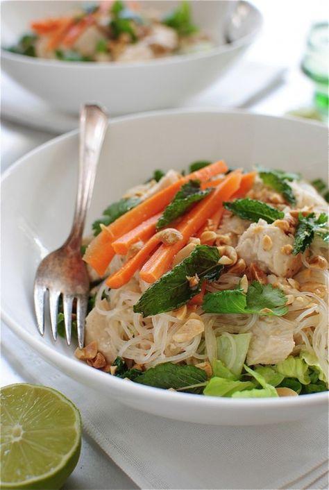 thai peanut chicken salad - bev cooks