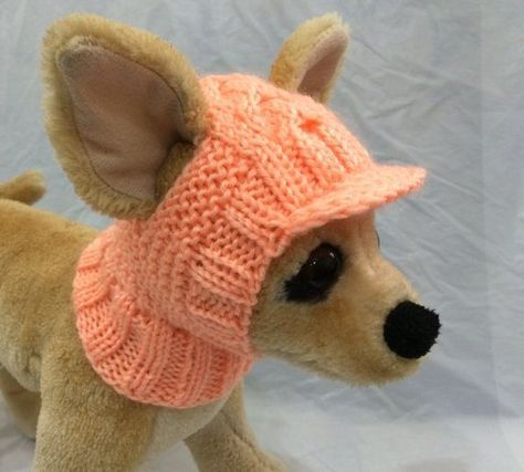 Pet Clothes Apparel Outfit Crochet Visor Snow Hat  Hoody for Small Dog Hand Knitted XS Size Nice Gif