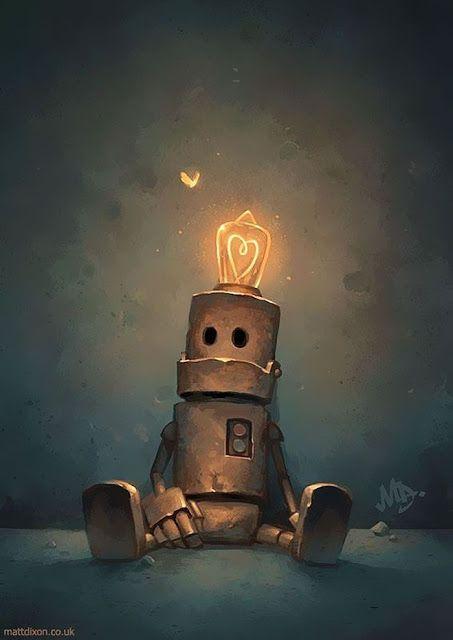 Hermosas Ilustraciones De Robots No Te Las Pierdas Alonecards Ilustraciones Fondos Robots Robotsanimaciones Fondosdep Robot Art Robot Illustration Art