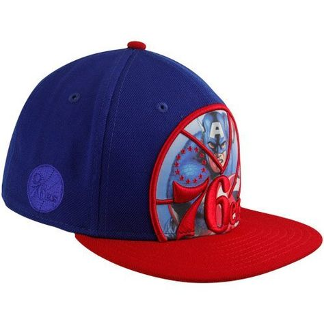 on sale c4a23 d0aa6 New Era Philadelphia 76ers Royal Blue-Red Marvel Captain America Big Action 59FIFTY  Fitted Hat by New Era.  36.95. Fitted. Six panels with eyelets.