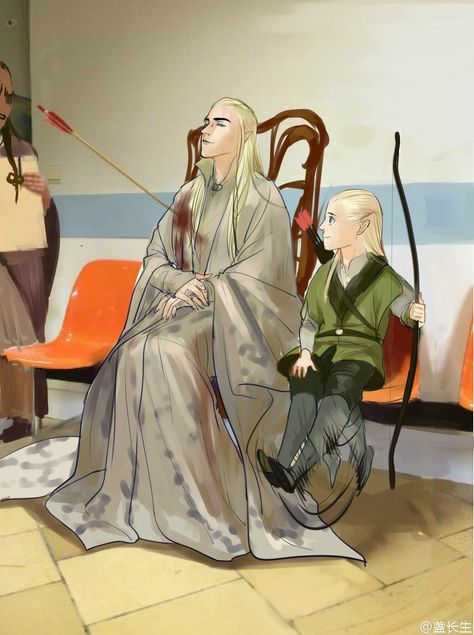 Thranduil looks so proud but gees he got shot in the shoulder. has this happen before rand he is just used to it or something. and Legolas is smiling. Legolas you shoot you father! Legolas Und Thranduil, Tauriel, Thranduil Funny, Beau Film, Jrr Tolkien, Fanart, Lotr, O Hobbit, Into The West
