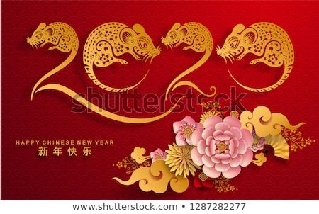 Chinese New Year 2020 Colors Happy chinese new year 2020 Rat zodiac sign,flower and asian