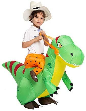 Spooktacular Creations Inflatable Costume Dinosaur Riding A T Rex Air Blow Up Deluxe Halloween Costumes For Kids Inflatable Costumes Deluxe Halloween Costumes