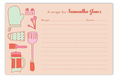 Retro Housewife Recipe Card.