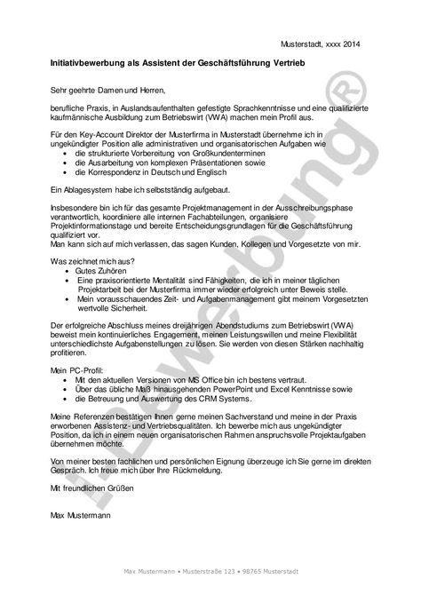 Initiativbewerbung Als Assistent Der Geschaftsfuhrung