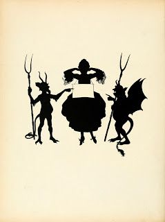 Vintage Ephemera: Halloween. French book silhouette illustration, woman, goblins, 1922