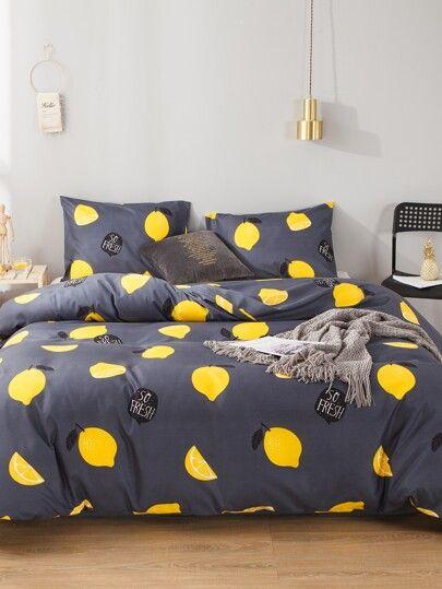 Button Decor Plain Bedding Sets Without Filler Romwe Beautiful Bedroom Decor Bedding Set Bedroom Design
