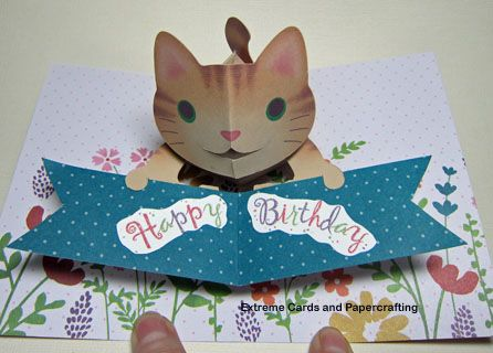 Cat Pop Up Card From File By Kagisippo Free Template For Custom Back Pop Up Cards Happy Birthday Cat Fancy Fold Cards