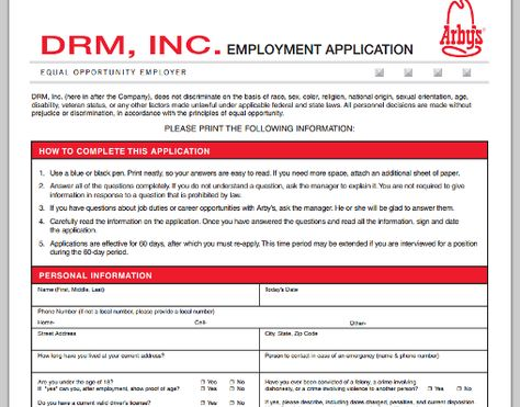Arbyu0027s printable job application Jobs And Careers Pinterest - basic employment application