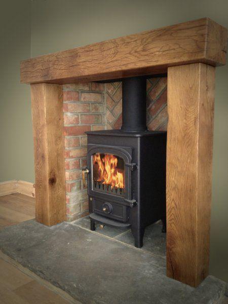 Clearvier pioneer 400 chunky oak surroun reclaimed yorkshire stone hearth  herringbone brickwork.jpg | Home Ideas | Pinterest | Hearths, Yorkshire and  ...