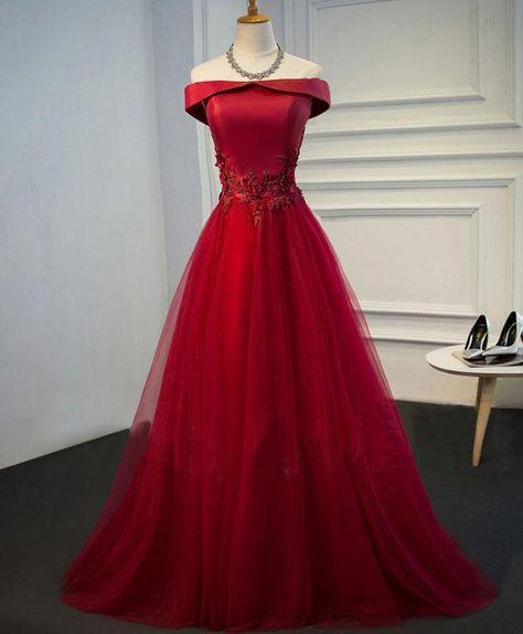 Burgundy lace tulle long prom dress, off shoulder evening dress - us:2 / dark blue