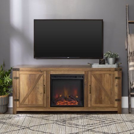 Manor Park Fireplace Tv Stand For Tvs Up To 65 Reclaimed Barnwood Walmart Com In 2020 Fireplace Tv Stand Electric Fireplace Tv Stand Barn Door Tv Stand