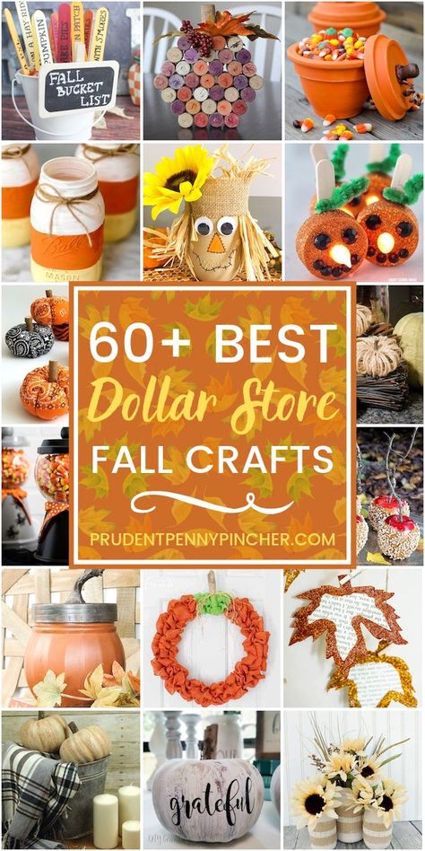 60 Dollar Store Fall Crafts Get crafty for less with these dollar store fall cra. - 60 Dollar Store Fall Crafts Get crafty for less with these dollar store fall crafts. From dollar st - Thanksgiving Arts And Crafts, Easy Fall Crafts, Fun Diy Crafts, Fall Diy, Holiday Crafts, Kids Crafts, Decor Crafts, Decor Diy, Diy Home Decor On A Budget